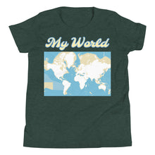 Load image into Gallery viewer, My World Map, Ocean Depth, Youth Short Sleeve T-Shirt