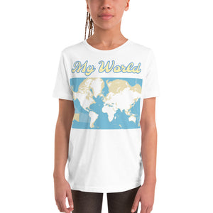 My World Map, Ocean Depth, Youth Short Sleeve T-Shirt