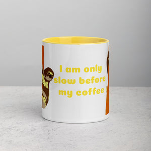 Funny sloth, morning coffee, Mug with Color Inside