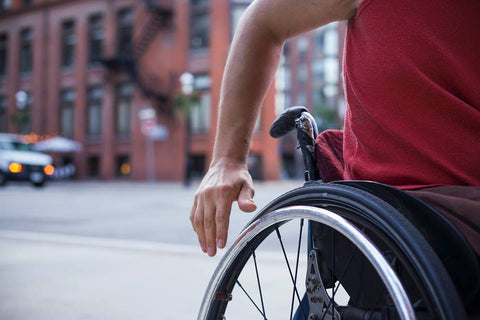 cropped picture of a manual wheelchair user