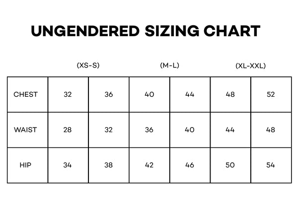 ungendered size chart