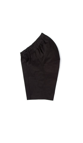 accessible clothing. chino shorts with adaptive waistband. black.