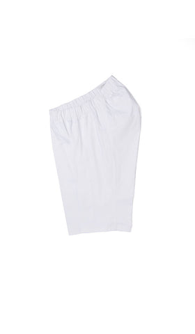 adaptive clothing. white chino shorts with elastic waistband for women.