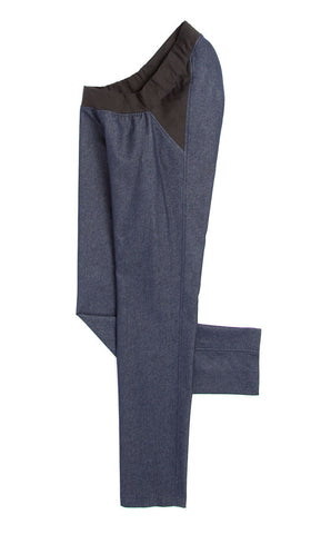 lightweight slim leg jeans with IZ panel in blue. adaptive fashion.