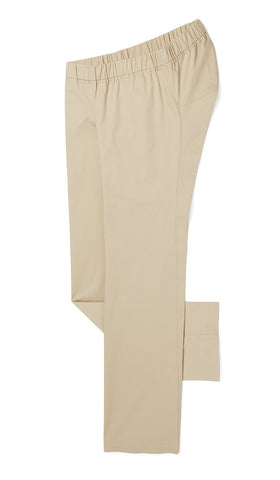tan lightweight chinos with elastic waistband. accessible clothing