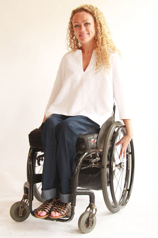 Flat Front Denim Jeans for wheelchair users - Fashion meets adaptable clothing