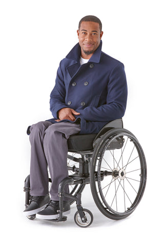 Pea Coat Easy-Zip Back - Clothing designed with wheelchair users in mind.
