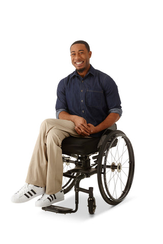 model wears lightweight straight leg chino for wheelchair users