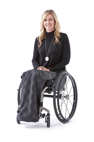 Diamond Plaid + Cable Knit Lap Blanket - Holiday style for wheelchair users