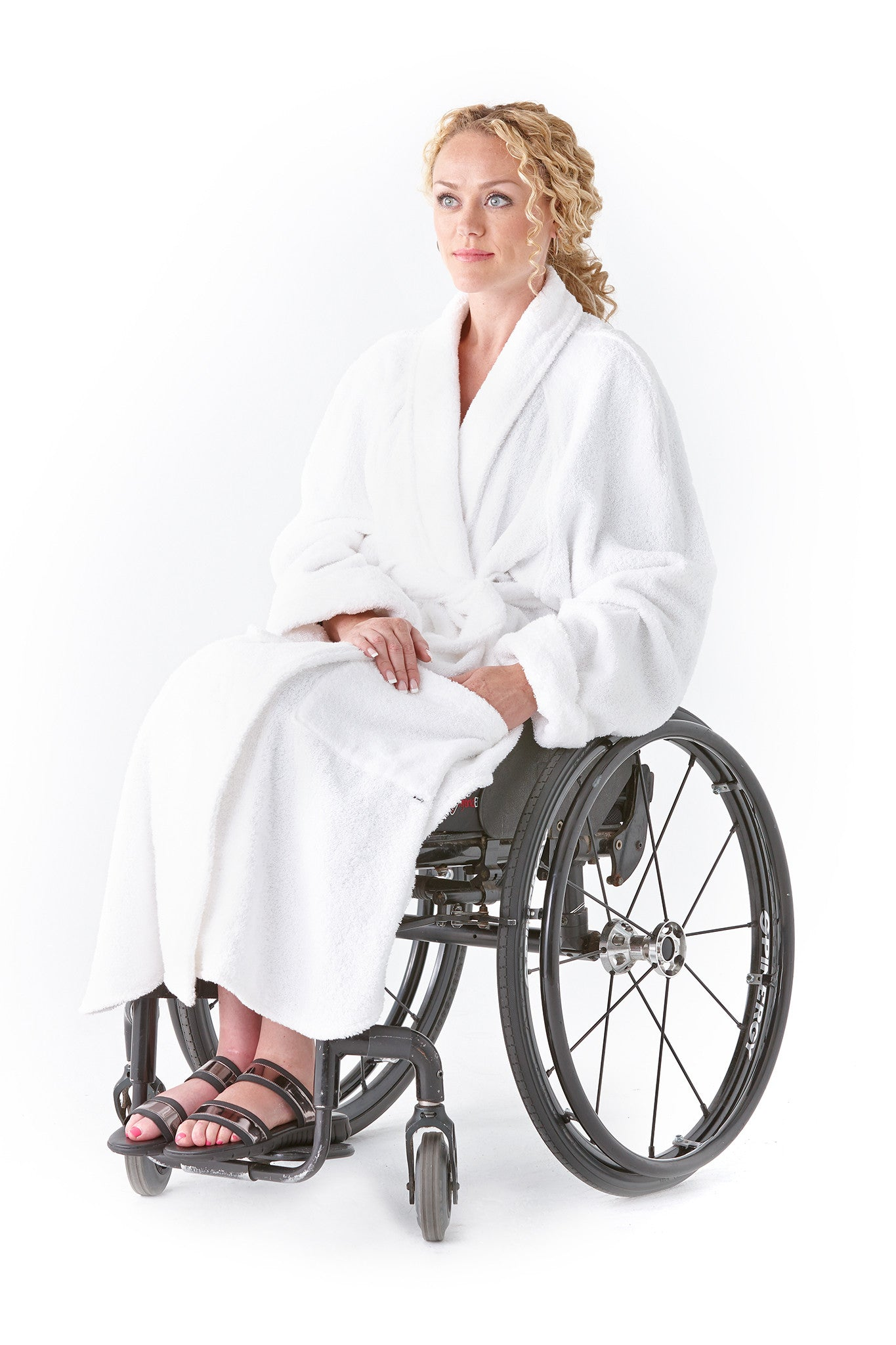 Bath robe for wheelchair users - The ultimate in adaptable clothing.