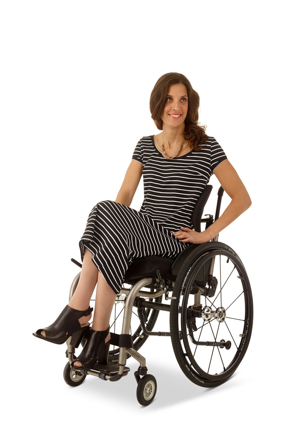 wheelchair model wearing adaptive cap sleeve dress