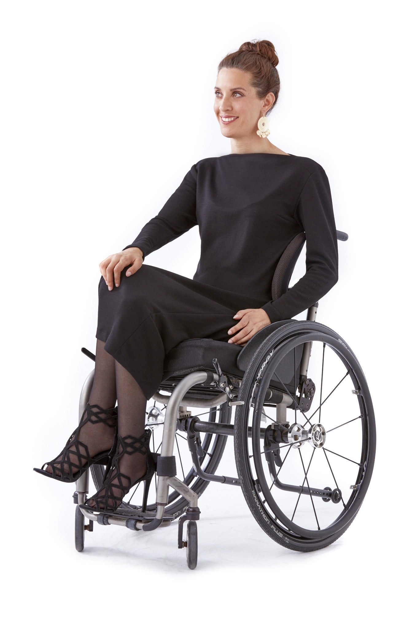 Wheelchair model wearing Boatneck Dress - A modern take on adaptive clothing for women.