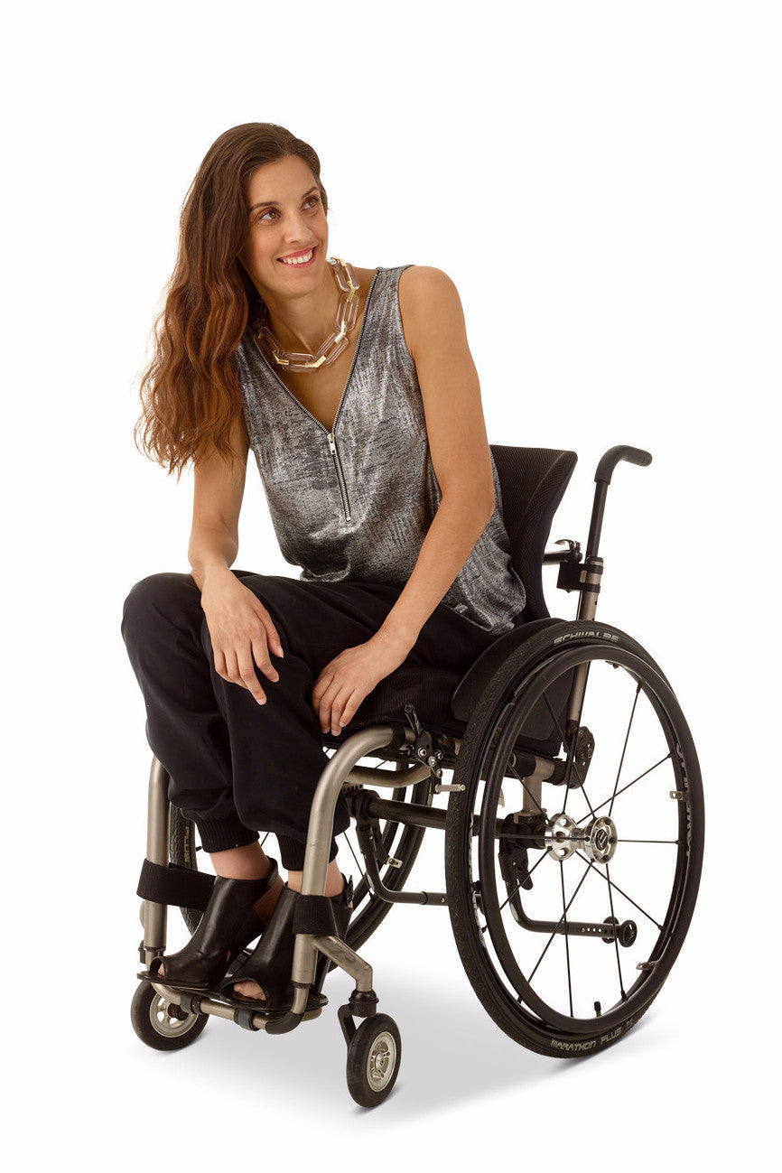 Model wears fashion jogger, fashion for wheelchair users