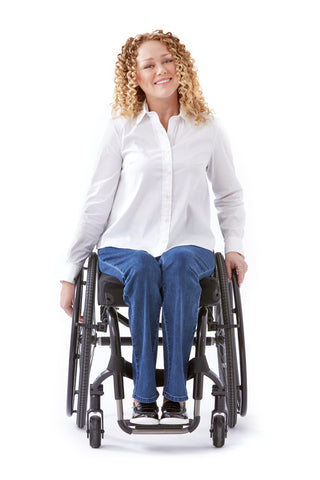 model wears white dress shirt for wheelchair users
