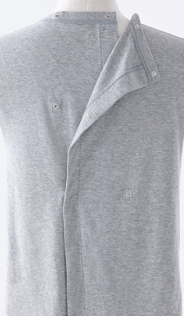 Women's Long Sleeve Open-Snap Back Tee in Grey - Beautifully designed clothing, easy to access.