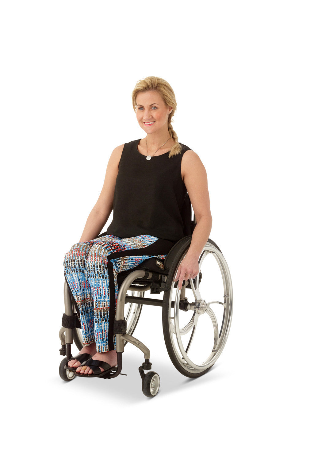 wheelchair model wearing adaptive ankle pants