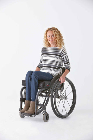 Women's Three-Tone Striped Tee - Clothes designed with the wheelchair user in mind.