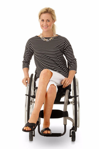 3/4 sleeve striped top for wheelchair users