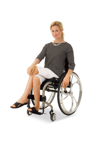 wheelchair model wearing adaptive chino shorts with elastic waistband for women