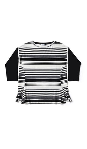Striped Sweater with Black Sleeves