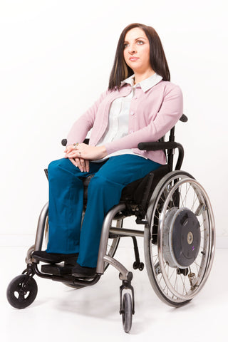 Teal Elastic Waist Chinos for wheelchair user - Clothing designed with wheelchair users in mind.