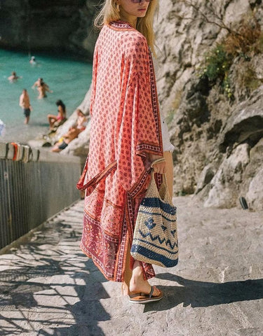 FLORAL PATTERNS KIMONO COVER UP-CHICBOHOSTYLE