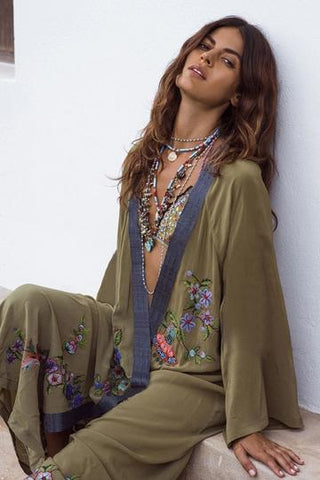 FLOWERS EMBROIDERY BEACH COVER UP KIMONO-CHICBOHOSTYLE
