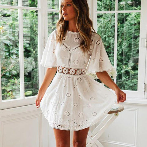 White Lace Floral Embroidery Short Sleeve Mini Dress - Chicbohostyle