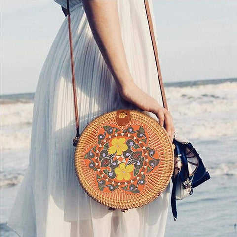 Handwoven Round Rattan Bag - Chicbohostyle