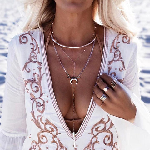 SIMPLE MULTILAYER LONG CHAIN MOON PENDANT NECKLACE-CHICBOHOSTYLE