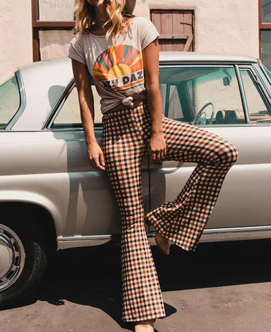 VINTAGE PLAID HIGH WAIST LONG FLARE BELL-BOTTOM PANTS-CHICBOHOSTYLE