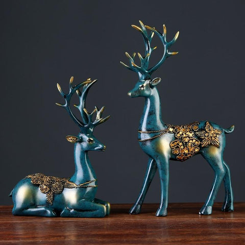 2 Pcs Resin Deer Figurine Home Decor-ChicBohoStyle