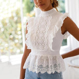 Back Bow White Cotton Lace Blouse-ChicBohoStyle