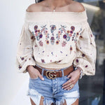 Balloon Sleeve Sunflower Embroidered Beige Cotton Blouse-ChicBohoStyle