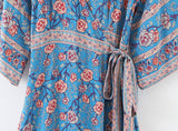 Blue Floral Three Quarter Sleeve Bohemian Dress with Belt-ChicBohoStyle