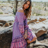 Bohemian Arrow Patterns Irregular Midi Dress-ChicBohoStyle