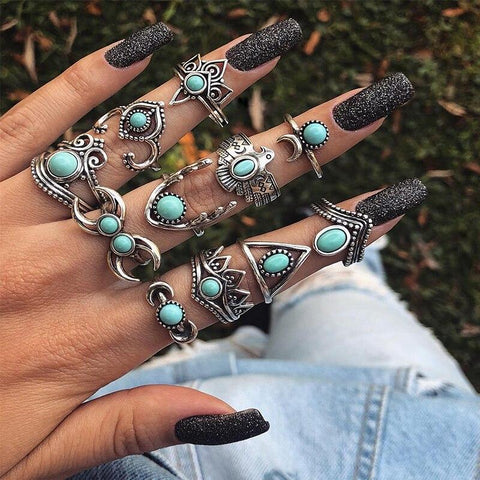 Bohemian Blue Ring Set 11 Pcs-ChicBohoStyle