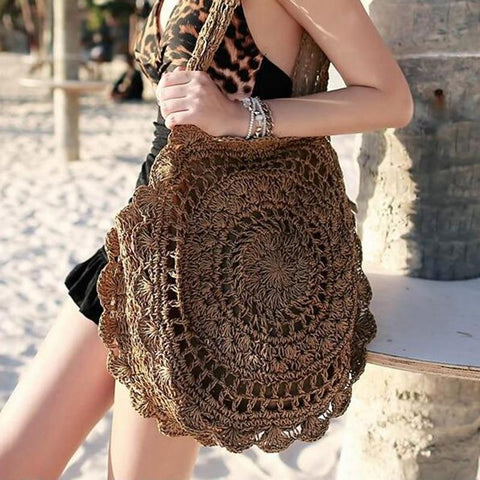 Bohemian Rattan Knitted Summer Beach Handbag-ChicBohoStyle