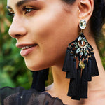 Bohemian Tassel Wedding Drop Earrings-ChicBohoStyle