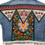 Boho Ethnic Embroidery Vintage Denim Jacket-ChicBohoStyle
