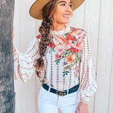 Boho Inspired Cream Chiffon Blouse-ChicBohoStyle