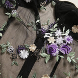 Bow Straps Floral Embroidery Mesh Bodysuits-ChicBohoStyle