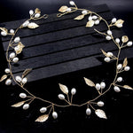 Bridal Headband Gold Leaves Pearl Hairband-ChicBohoStyle