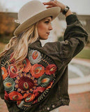 Colorful Floral Embroidered Denim Jacket-ChicBohoStyle