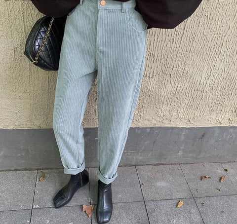 Corduroy High Waist Straight Pants-ChicBohoStyle