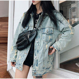 Dinosaur Cartoon Print Denim Jacket-ChicBohoStyle
