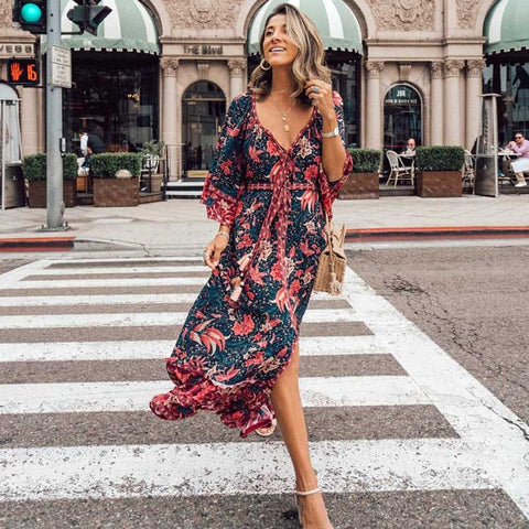 Flare Sleeve Bohemian Maxi Dress-ChicBohoStyle