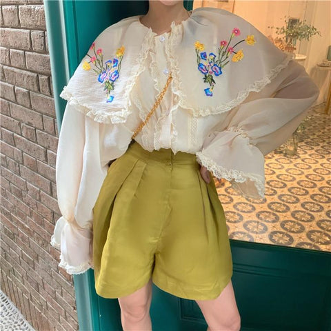 Floral Embroidered Ruffle Flare Sleeve Peter Pan Collar Blouse-ChicBohoStyle