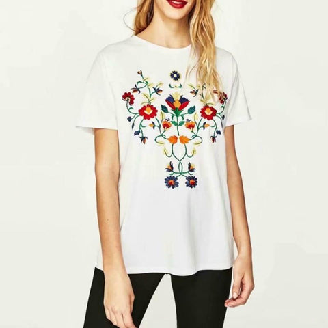 Floral Embroidery Short Sleeve T-Shirt-ChicBohoStyle