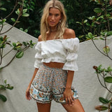 Floral Printed High Waist Elastic Shorts-ChicBohoStyle